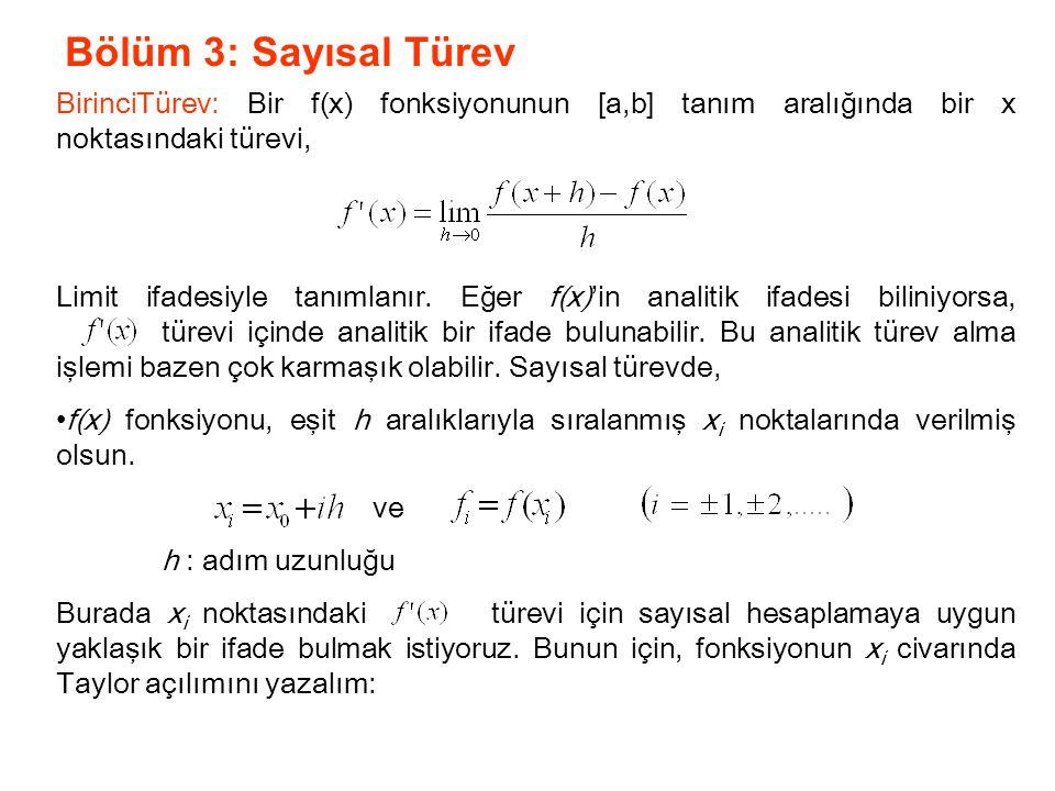 Bölüm 3: Sayısal Türev BirinciTürev: Bir f(x) fonksiyonunun [a,b] tanım aralığında bir x noktasındaki türevi,